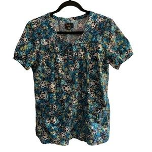 Peaches Scrub Floral Top
